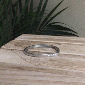 Silver Rhinestone Hinged Bracelet